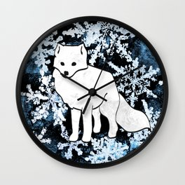 Foxes & Flakes (Blue Version) Wall Clock
