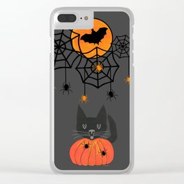 Happy Halloween Pumpkin Moon Clear iPhone Case
