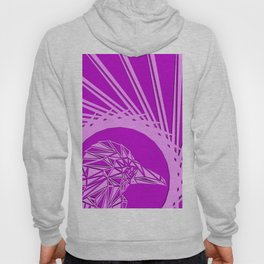 Bright abstract crimson bird on a purple background in the nest. Hoody