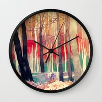 takmaj Wall Clocks featuring Woods by takmaj