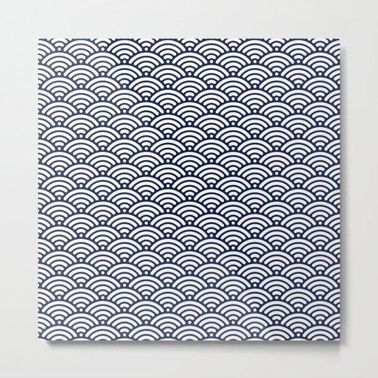 Indigo Navy Blue Wave Metal Print