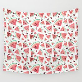 Watermelon popsicles, strawberries and chocolate Wall Tapestry