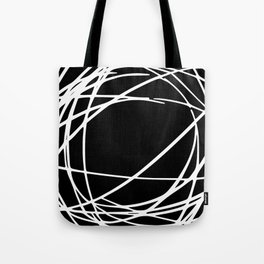 Black and White Circles and Swirls Modern Abstract Tote Bag