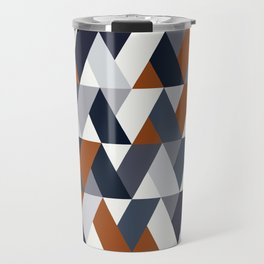 Navy Rust Geometry V Travel Mug