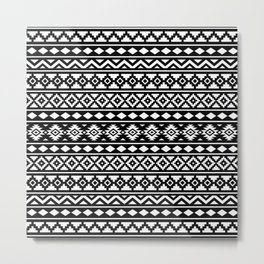 Aztec Essence Pattern II White on Black Metal Print