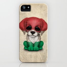 Cute Puppy Dog with flag of Hungary iPhone Case