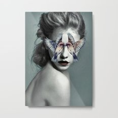 Woman With Birds Metal Print