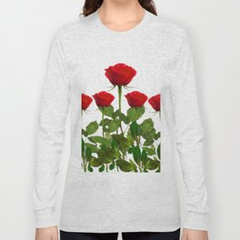 ORIGINAL GARDEN DESIGN OF RED ROSES ON WHITE Long Sleeve T-shirt