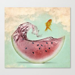 watermelon goldfish 02 Canvas Print