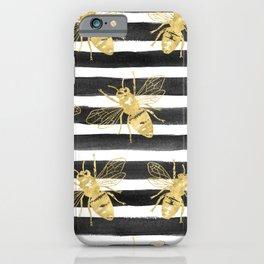 Golden bee noir iPhone Case