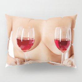 Exotic wine glasses covering breasts Pillow Sham