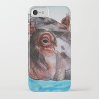 hippo iPhone & iPod Cases featuring Hippo by tsquared91