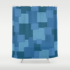 Blue Platformer Shower Curtain
