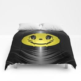 Vinyl headphone smiley Comforters
