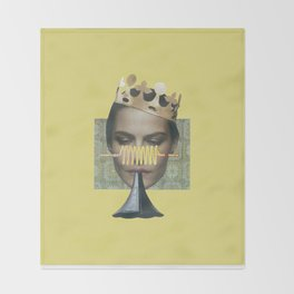 Sad trumpet in yellow Throw Blanket