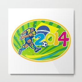 Brazil 2014 Soccer Football Player Kicking Ball Metal Print
