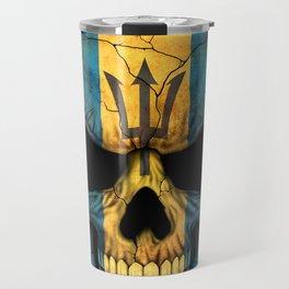 Dark Skull with Flag of Barbados Travel Mug
