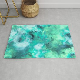 Abstract Art Pour - Green and Aqua Palette Rug