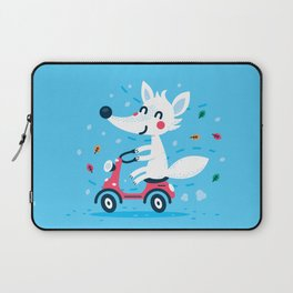 White Fox Riding Vespa Laptop Sleeve