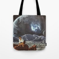 "alone Tote Bags featuring ""Alone"" by TRASH RIOT"