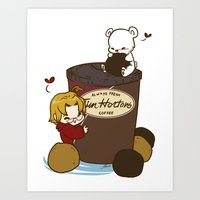 hetalia Art Prints featuring Hetalia - Canada Loves Timmies  by BlacksSideshow
