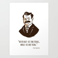 ron swanson Art Prints featuring Ron Swanson by Chris Baldie