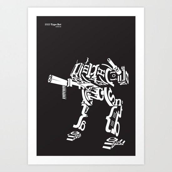 Type Bot Black Art Print