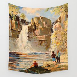 Mid Century Modern Vintage Travel Poster England Landscape Rocky Waterfall Wall Tapestry