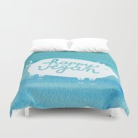 vegan Duvet Covers featuring Happy Vegan by Anke Weckmann
