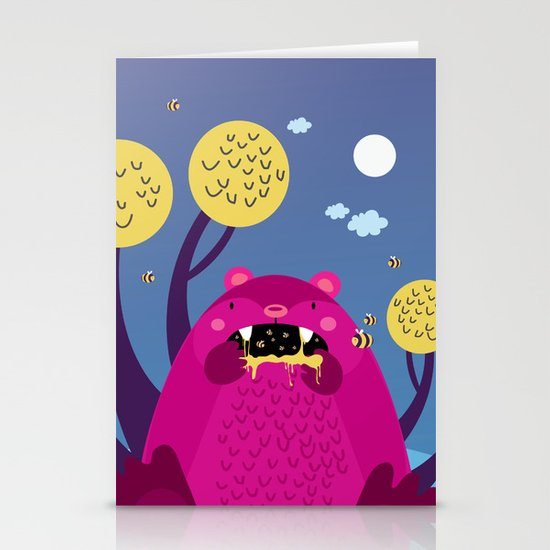 The bear and the bees Stationery Cards