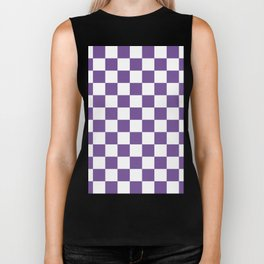 Checkered - White and Dark Lavender Violet Biker Tank