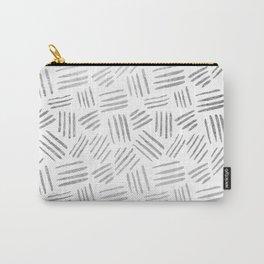 Elegant geometrical faux silver stripes pattern Carry-All Pouch
