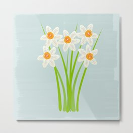 Pastel Mint Blue White Daffodils Hero Watercolor Metal Print