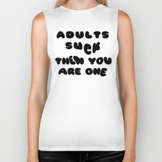 Adults Suck Fun Quote Text Design | Kawaii Fluffy Typography Biker Tank