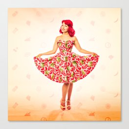 """""""Check Out These Melons"""" - The Playful Pinup - Girl in Watermelon Dress by Maxwell H. Johnson Canvas Print"""