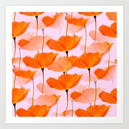 Orange Poppies On A Pink Background #decor #society6 #buyart Art Print