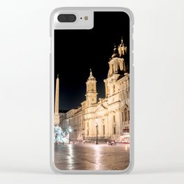 Piazza Navona at night under full moon - Rome, Italy Clear iPhone Case