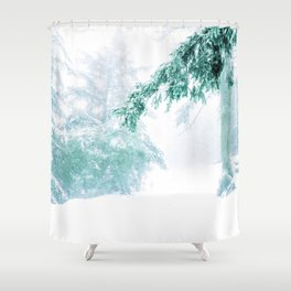 Emerald forest in blizzard and snow Shower Curtain