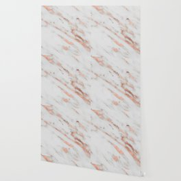 Marble - Rose Gold Marble with White Gold Foil Pattern Wallpaper