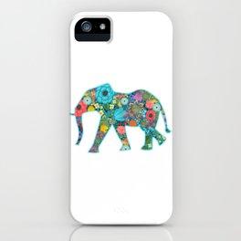 Floral Elephant - vivid iPhone Case