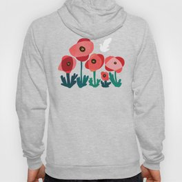Poppy flowers and bird Hoody