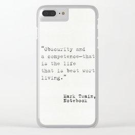Mark Twain Notebook Clear iPhone Case