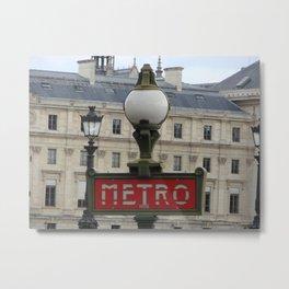 Paris Metro Sign Color Metal Print