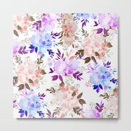 Botanical pastel pink aqua lilac watercolor floral Metal Print