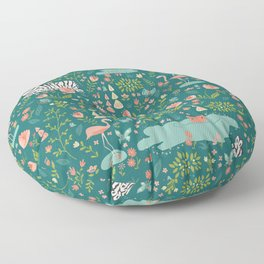 Wild Zebras in Green Garden Floor Pillow