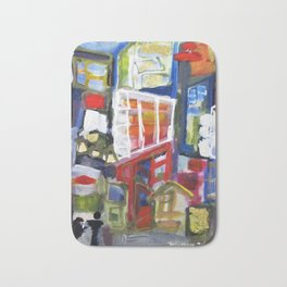 Walking Street Abstract City Scape Blue Red Yellow White Geometric Bath Mat