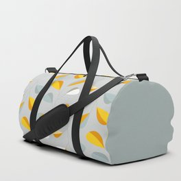 Mid Century Modern Graphic Leaves Pattern 2. Pastel Grey Duffle Bag