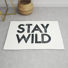 STAY WILD Vintage Black and White Rug