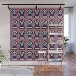 New York Windows Pattern 261 Brown Grey and Blue Wall Mural