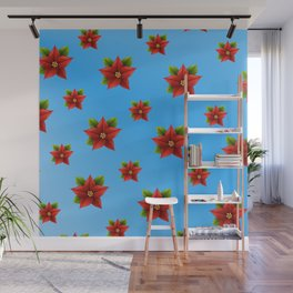 Red Flowers Pattern 2 Wall Mural